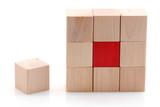 Agencement cube bois - concept stratégie poster