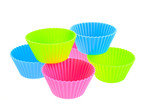six multicolor silicone muffin pans poster
