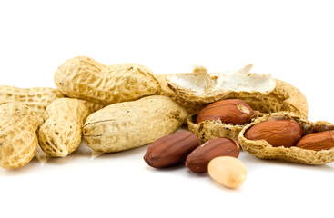 Heap of peanuts isolated