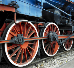 detail of steam locomotive 11-022 in Belgrade, Serbia