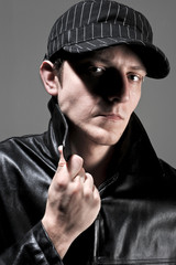 Man with hat and jacket