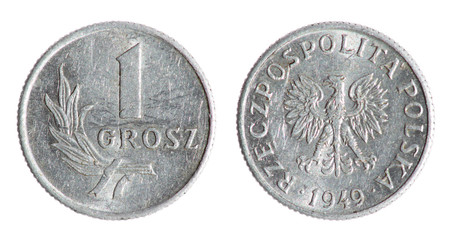 Old Polish grosz coin on the white background (1949 year)