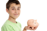 Boy holding a money box