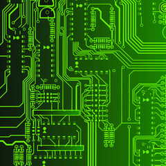 Abstract background graphic depicting printed circuit board
