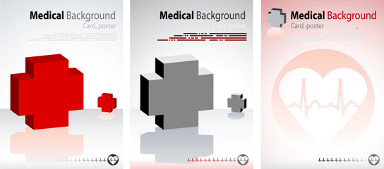 3 Medical backgrounds, Vector cardio cover and layout with ecg,