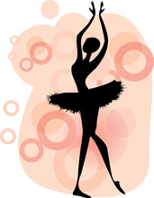 Ballet dancer.Beautiful taniec kobieta, vector baletnicy silhouet