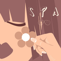 Vector woman face, eyes, lips, hair. Spa flower logo, icon
