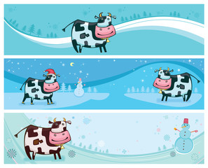 Cute friendly cow banners