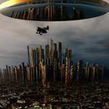 3d alien UFO space ship above night city-