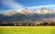 A view of The Tatra Mountains and village in summer, Slovakia.