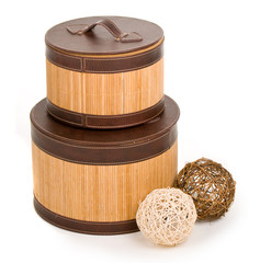 fancy wooden boxes with clews by them