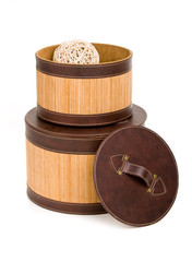 open wooden boxes with clews in one of them