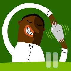 Barman negro agita la coctelera