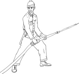 vector - historic fireman with hose isolated