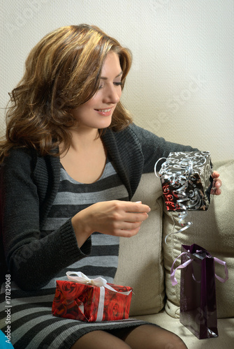 Girl Looking at Presents