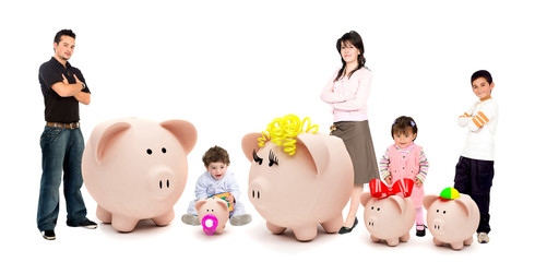 People with a piggybank family