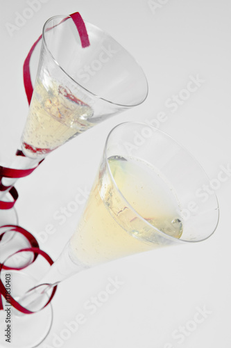 Two  champagne glasses  with  providing