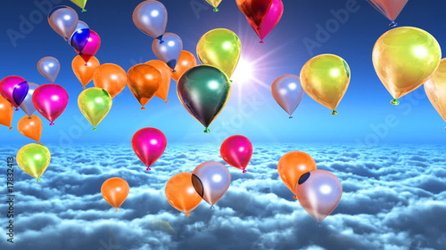 Above clouds colorful balloons flying