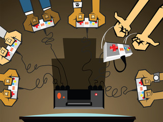 Six friends playing on a computer games console.