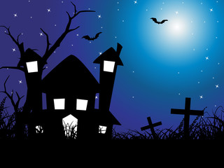 halloween background with house, hat