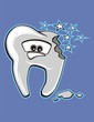 Vector cartoon broken tooth, worried character.