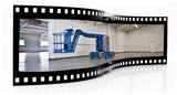 industrial elevated platform film strip poster