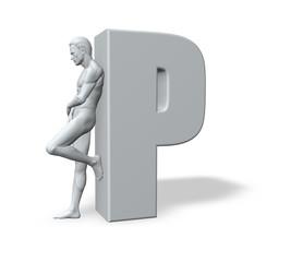 Mann lehnt an P