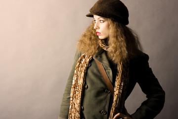 fashion model in autumn/winter clothes