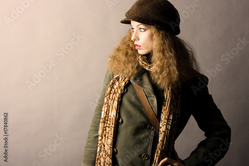 fashion model in autumn/winter clothes