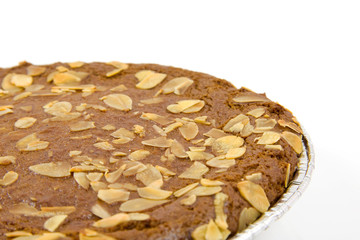 Typical filled Dutch pie with almond for Sinterklaas