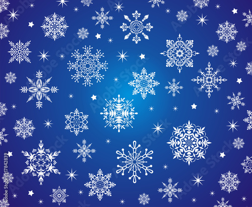 Snowflakes on the blue background.