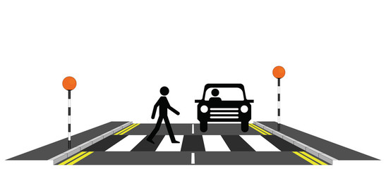 Pedestrian walking across a zebra crossing with car