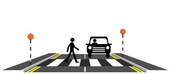 Pedestrian walking across a zebra crossing with car