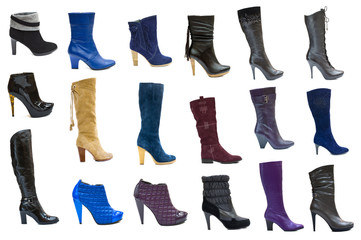 Collection or set of 18 items female boots and shoes for winter