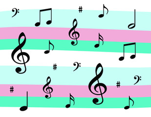 Musical Notes on a Pink and Blue Background