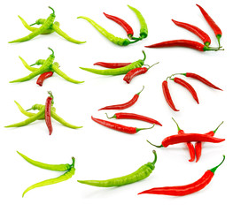 Set of Green and Red Chili Peppers Isolated on White