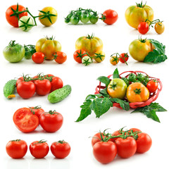 Set of Ripe Red and Yellow Tomatoes Isolated on White