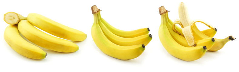 Set of Ripe Yellow Bananas Isolated on White