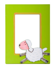 glamourous green  photo frame with a sheep on it
