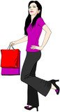 Satisfied customer, a young lady with bright shopping bags poster