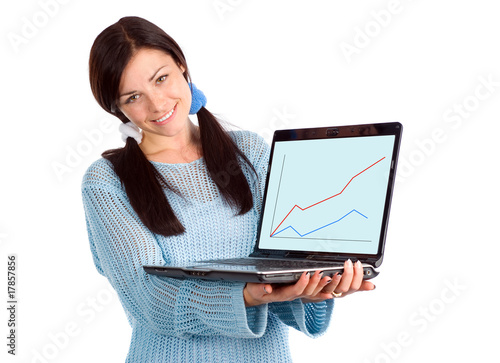 Brunette showing laptop with graph