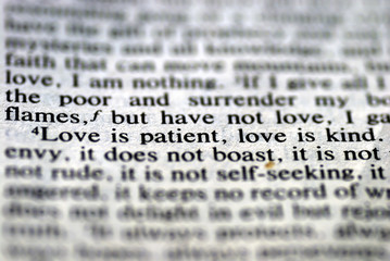 From the Bible: Love is patient, Love is kind