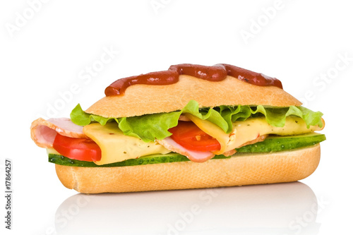 submarine sandwich isolated on white