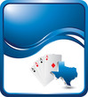 Texas hold em on blue wave background