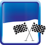 Racing flags on blue checkered background