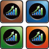 Revenue growth icons in multicolored web buttons poster