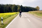 Jugendlicher bei Fahrradtour auf Landstrasse macht Stunts poster