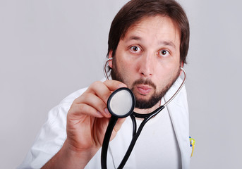 Doctor with expression on face, closeup