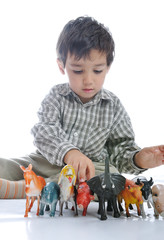 Animals toys isolated and kid