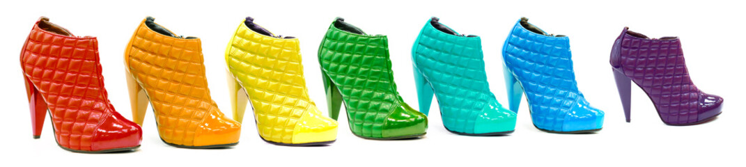 Variety of all rainbow colors in patent leather shoes or boots